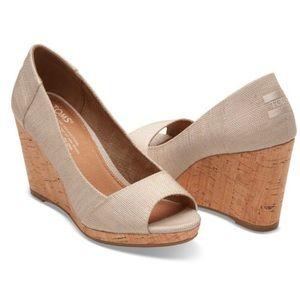 Toms Women's Stella Wedge Peep Toe Wedge Shoe